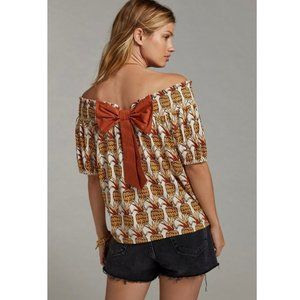 NWT Anthropologie Pineapple Printed Bow-Back Top